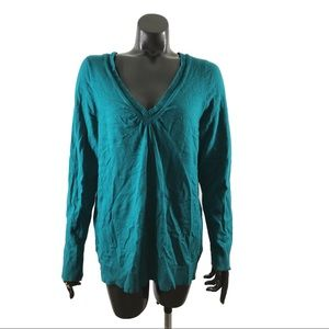Lane Bryant Size 14/16 Teal Blue Ribbed V Neck Top